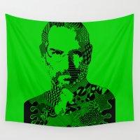 steve jobs Wall Tapestries featuring Steve Jobs green by Rebecca Bear