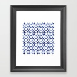 Imperfect Geometry Blue Petal Grid Framed Art Print