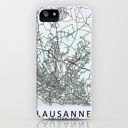 Lausanne, Switzerland, White, City, Map iPhone Case