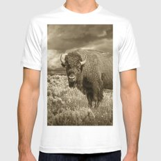 American Buffalo in Sepia Tone MEDIUM White Mens Fitted Tee