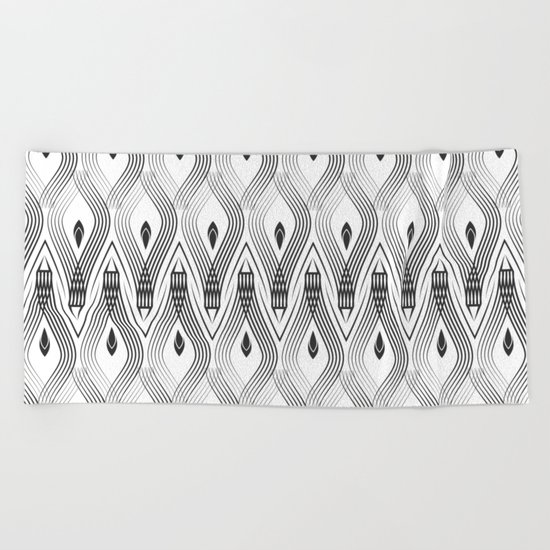 Art Deco 56 . black and gray spiral . Beach Towel
