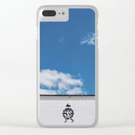 Blue Skies and Crisp Black & White Icons Over a Fremantle Building Clear iPhone Case