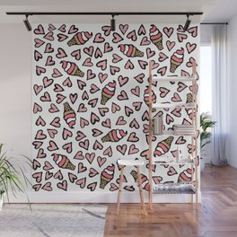 Cute Pink Hearts and Ice Cream Cones Illustrations Wall Mural
