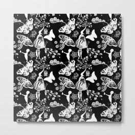 Butterfly and Flowers, Black and White, Ornament  Metal Print