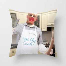 Kiss the Cook. Throw Pillow