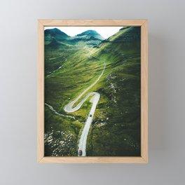 winding road in the faroe islands Framed Mini Art Print