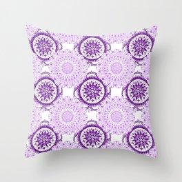 Purple Rhapsody Floral Mandalas Throw Pillow