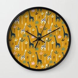 Giraffe Parade on Mustard Yellow Wall Clock