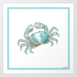 Aqua Colored Crab Art Print