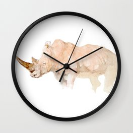 Rhino Watercolor Handmade Painting Wall Clock
