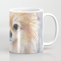 pomeranian Mugs featuring Pomeranian Watercolor Pom Painting by Olechka