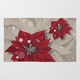 Poinsettias - Christmas flowers   BG Color I Rug