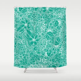 Modern trendy white floral lace hand drawn pattern on emerald green Shower Curtain