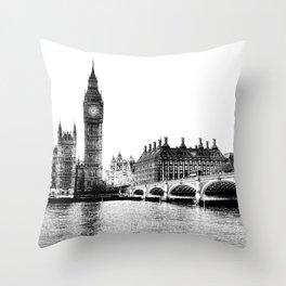 Westminster Bridge and Big Ben Art Throw Pillow