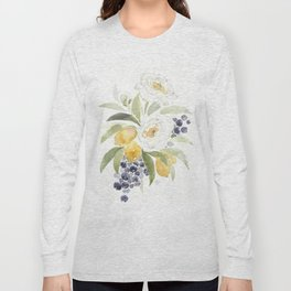 Watercolor Flowers with Blueberries Long Sleeve T-shirt