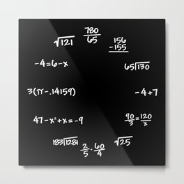 Math Mathematics Formulas Clock :: Solve the Time Metal Print