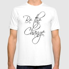 Be the Change - white White Mens Fitted Tee SMALL