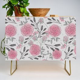 Soft and Sketchy Peonies Credenza