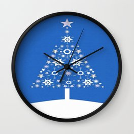 Christmas Tree Made Of Snowflakes On Blue Background Wall Clock