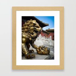 Mother Lion at the Forbidden City. Framed Art Print