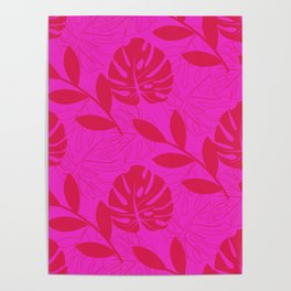Monstera Leave Red In Red Pattern Poster