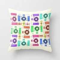 camera Throw Pillows featuring CAMERA by Laura Maria Designs