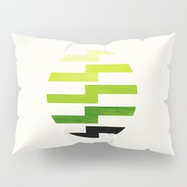 Minimalist Mid Century Circle Frame Sap Green Zig Zag Colorful Lightning Bolt Geometric Pattern Pillow Sham