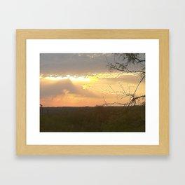 lake sun set Framed Art Print