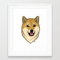 shiba Framed Art Prints featuring Shiba Inu by Bleachydrew