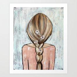 Flower Girl Braided Hair Painting Art Print