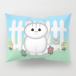 White Cat Pillow Sham