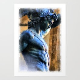 Perseus Greek Hero Statue Illustration Art Print
