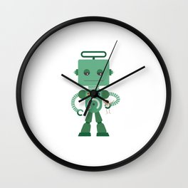 Giant green robot with a toy human Wall Clock