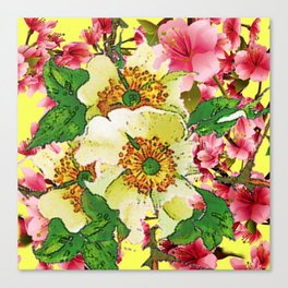 CONTEMPORARY PINK & CREAMY WHITE SPRING FLOWERS Canvas Print