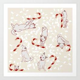 Candy Cane Shiba Inus Art Print