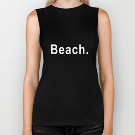 BEACH Bench inspired black text Surf skateboard Whte sizes to Surf Biker Tank