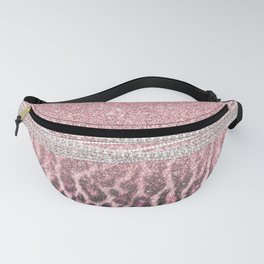 Chic Girly Pink Leopard animal print Glitter Image Fanny Pack