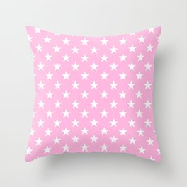 Stars (White & Pink Pattern) Throw Pillow