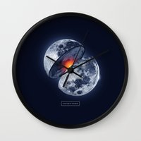 the moon Wall Clocks featuring Moon by Steven Toang