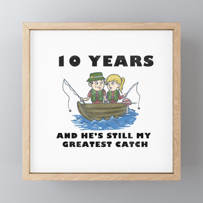 Anniversary 10 Couple Fishing Wife Husband Gift Framed Mini Art Print