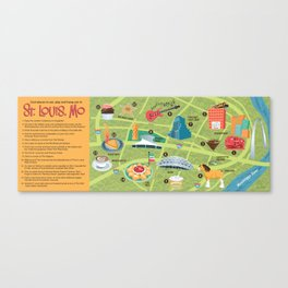 Illustrated Map of St. Louis Canvas Print