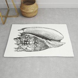Seashell | Sea Shell | Conch Shell | Black and White | Rug