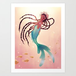 Mermaid With Long Braids Art Print