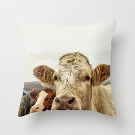 A cow greeting is like no other Throw Pillow