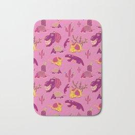 Desert Animals in Pink with Yellow Armadillo Bath Mat