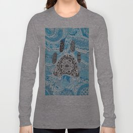 Zentangle Paw Print with Background Long Sleeve T-shirt