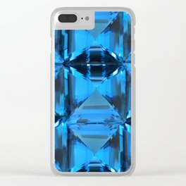 BLUE CRYSTAL GEMS PATTERN Clear iPhone Case