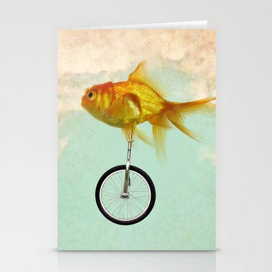 unicycle goldfish 02 Stationery Cards