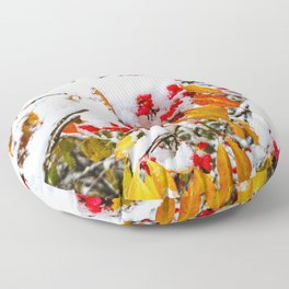 Spindle Tree Flowers Under Snow Floor Pillow
