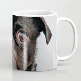 Cute Black Dog - Face Portrait Coffee Mug